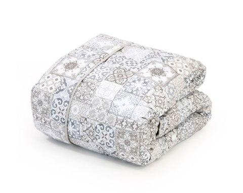 Trapunta matrimoniale con disegno maiolica variante tortora puro cotone - Granada