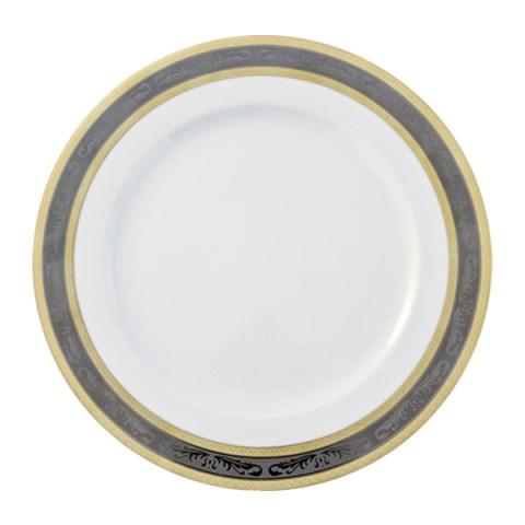 Piatto in porcellana tedesca bavaria con decoro in oro e platino - Riad