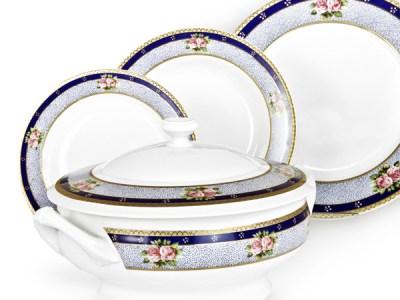 Servizio Piatti di Limoges prodotti in Francia con decoro floreale in Oro - Regale