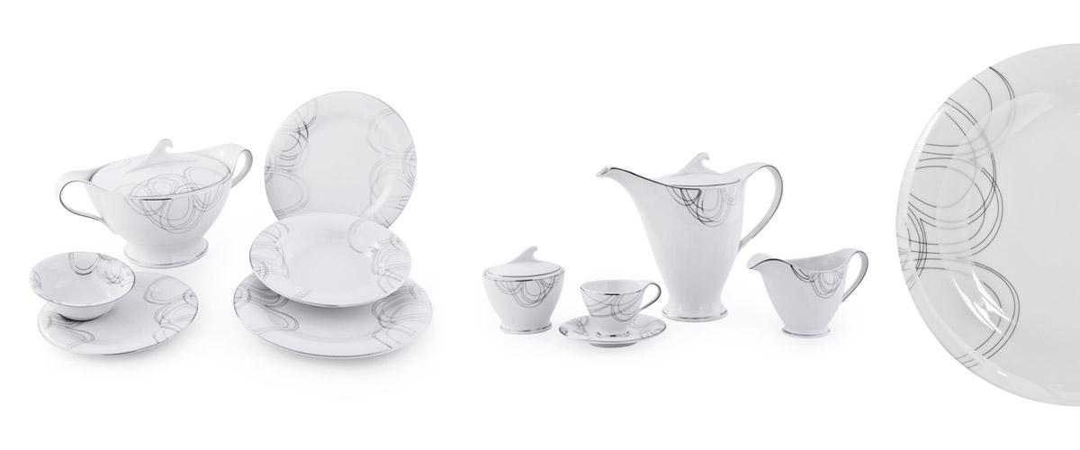 Servizio piatti fine porcellana filo platino - Dallas