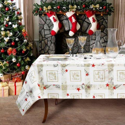 Tovaglia natalizia Natale Dorato per 8 e 12 persone in puro cotone