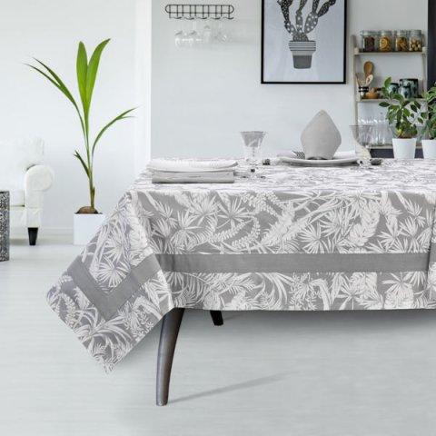 Servizio tavola moderno di colore grigio in tessuto panama di cotone - Palma