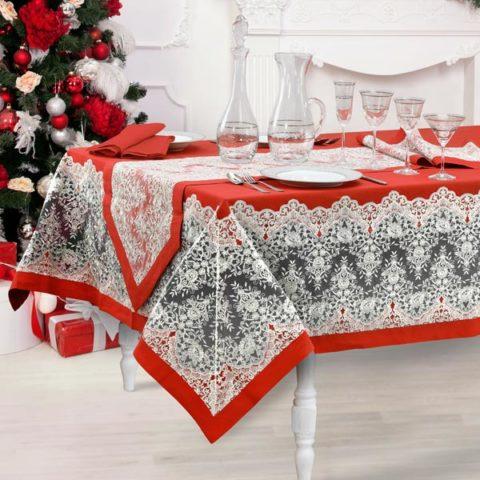 Servizio tavola natalizio in lino rosso con pizzo argento - Eloise