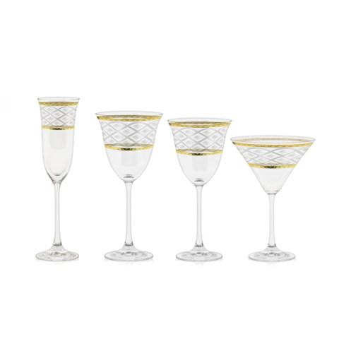 Servizio bicchieri a calice con incisione e decoro filo Oro - Carisma