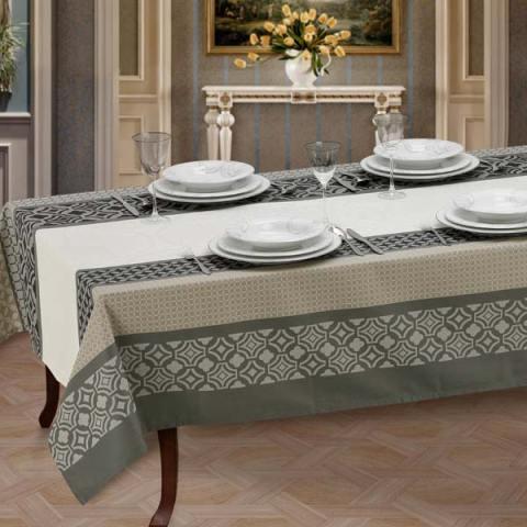 Set di tovaglie da tavola con lavorazione al telaio dai colori moderni nero, sabbia e panna