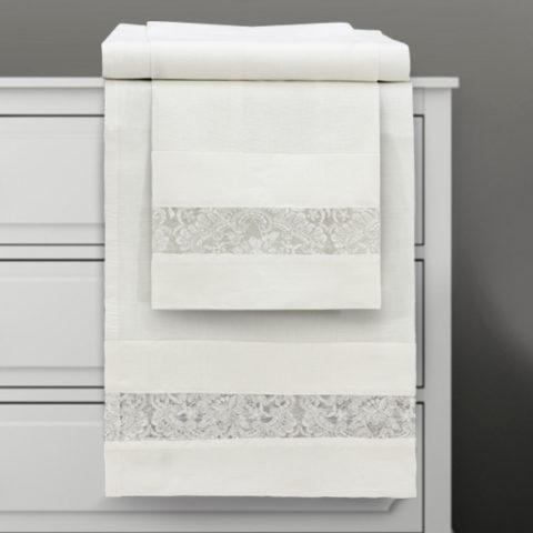 Coppia asciugamani 1 + 1 in lino panna con pizzo ricamo argento - eloise