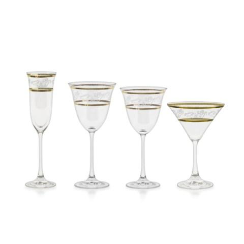 Servizio bicchieri con decorazione in oro ed incisione angeli classico