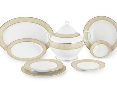 Servizio piatti porcellana decoro filo oro - Carisma