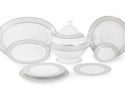 Servizio piatti porcellana decoro filo platino - Carisma