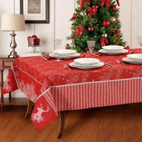 Set tovaglie natalizie rosse lavorate al telaio con filo argento - Rudolph
