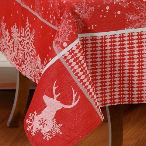 Tovaglia natalizia rossa a telaio con filo argento - Rudolph