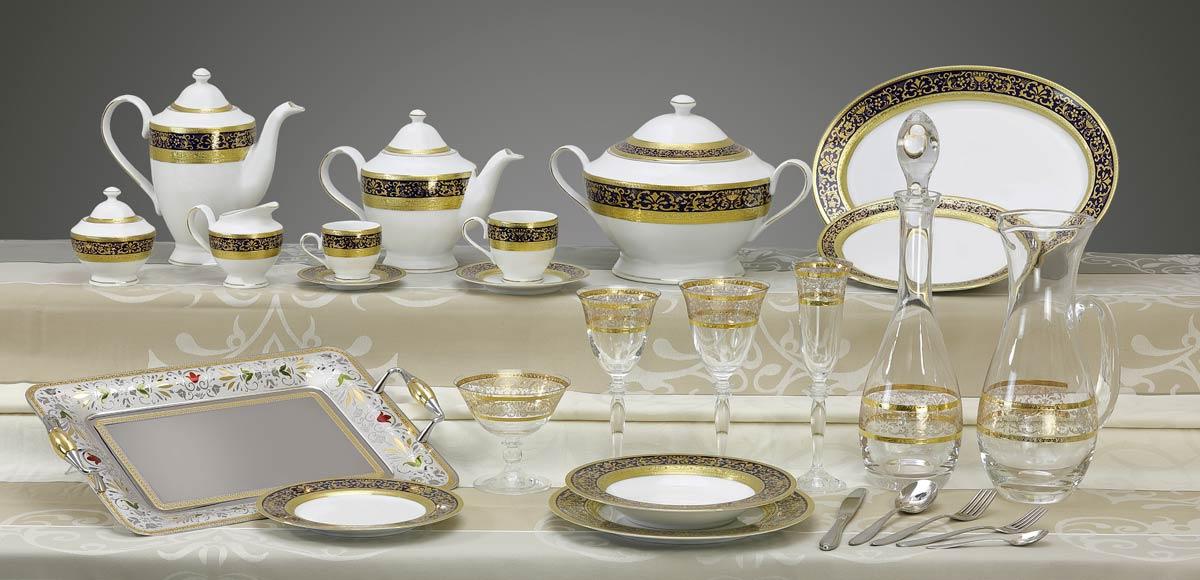 Completo piatti bicchieri vassoi decoro classico oro blu Royal
