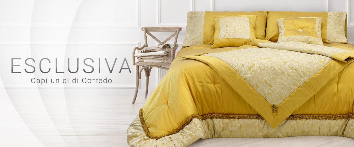 Coordinato letto in tessuto di seta colore oro artigianale firenze