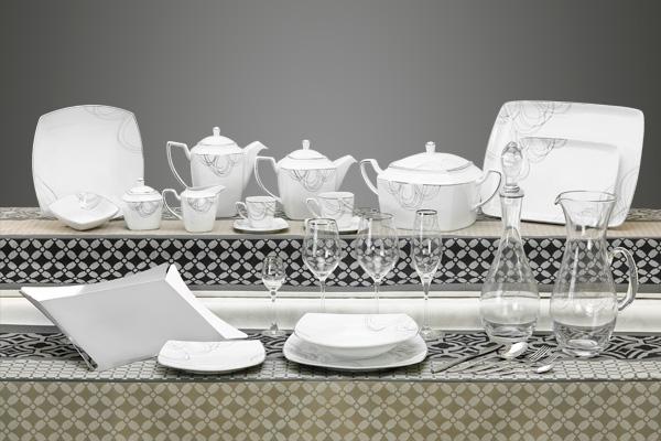 Coordinato moderno piatti quadrato bicchieri e vassoi decoro Argento - Boston