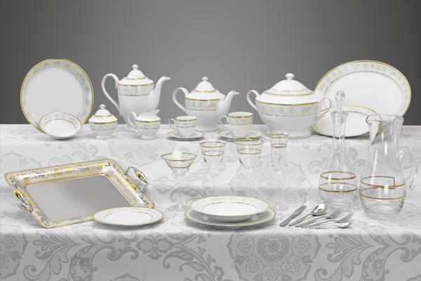 Coordinato piatti bicchieri e vassoi decoro oro - Angeli