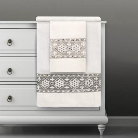 Coppia asciugamani in lino con pizzo argento - Chantal