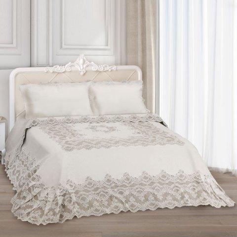 Primo letto corredo pizzo rebrodè puro lino beige - Giulia