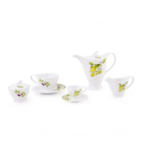 Servizio caffè decorazione limoni e lamponi fine porcellana