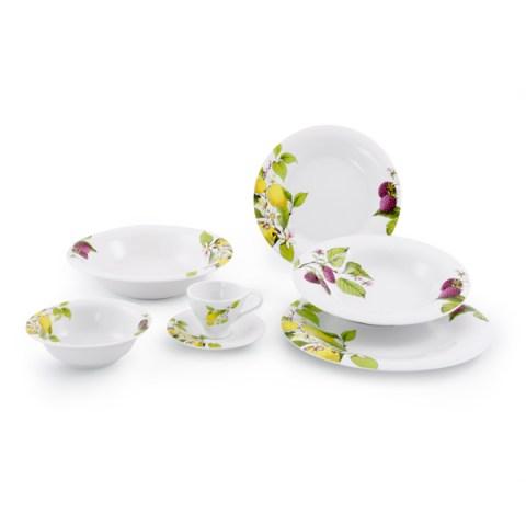Servizio piatti porcellana decorati limoni lamponi - Limoni