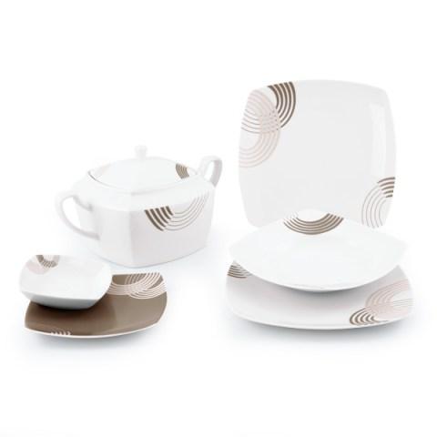 Servizio piatti porcellana moderno quadrato colore tortora - Cosmo