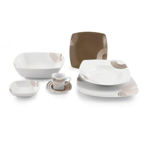 Servizio piatti quadrato porcellana moderna colore tortora - Cosmo