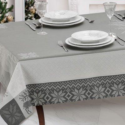 Set tovaglie natalizie filo argento telaio colori grigio - Natalia