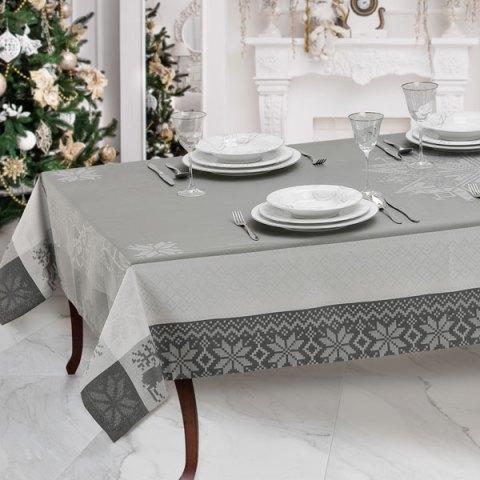 Tovaglie natalizie filo argento telaio colore grigio - Natalia