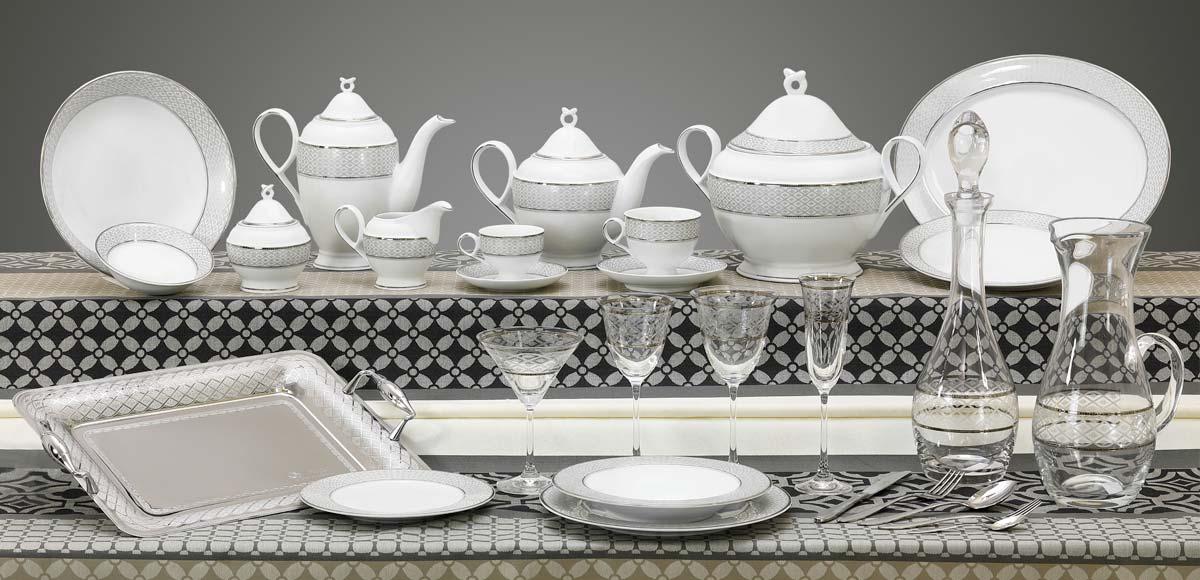 Completo piatti bicchieri e vassoi decorazione filo platino grigio - Carisma