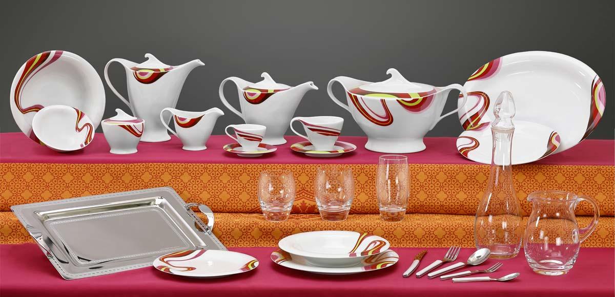 Completo piatti bicchieri e vassoi decoro multicolore Rapsodia