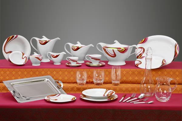 Coordinato piatti bicchieri vassoi decoro moderno Rapsodia