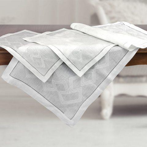 Set centri camera da letto 3-pezzi in lino bianco ricamati - Geo