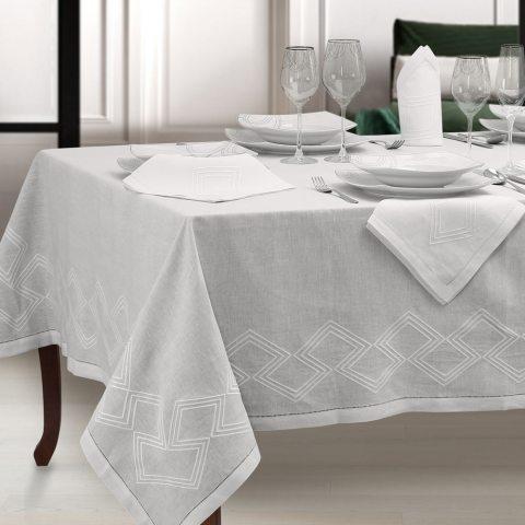 Tovaglia moderna in lino bianco con ricamo geometrico - Geo