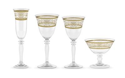 Completo calici classici decorati in oro 50 pezzi - Royal
