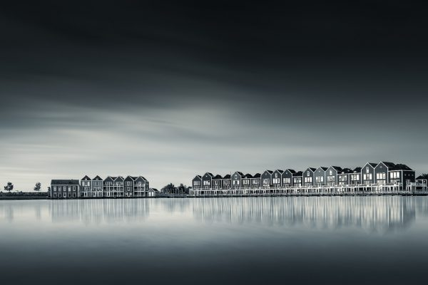 The colorful houses of Houten in a fine art edit.