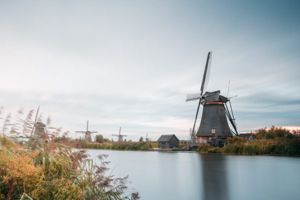 Kinderdijk mills at sunset