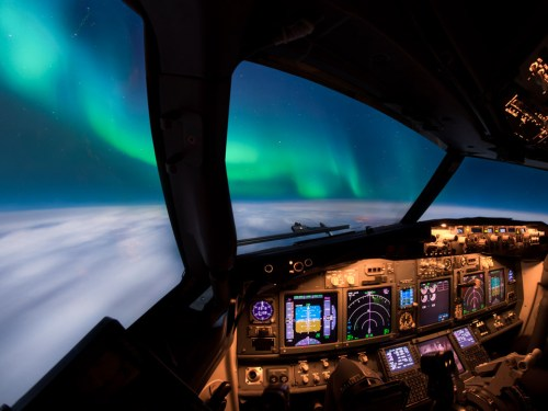 Northern Lights from the cockpit