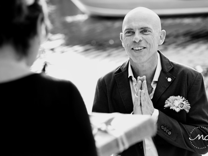 Emotional groom receives his present. Puerto Aventuras Wedding by Martina Campolo Photography