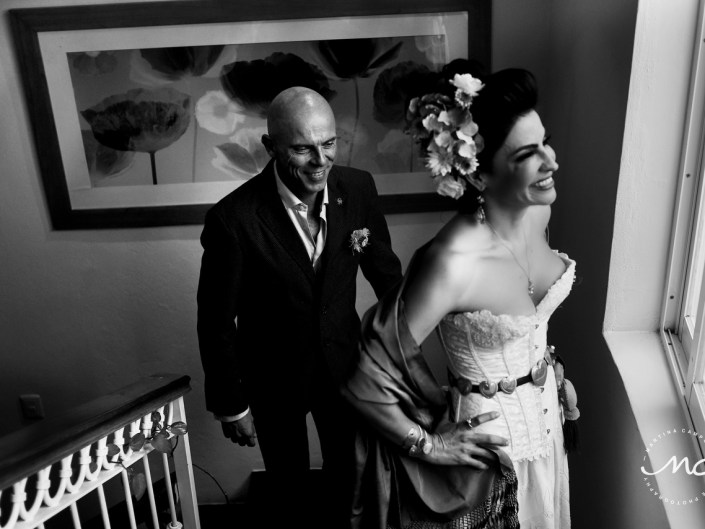 Sol and David's First Look. Puerto Aventuras Wedding by Martina Campolo Photography