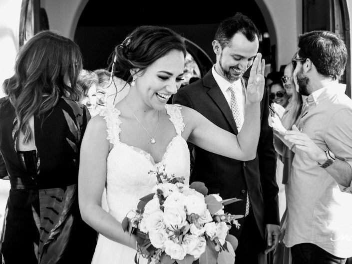Bride and groom exit wedding chapel on 5th Ave in Playa del Carmen. Martina Campolo Photography