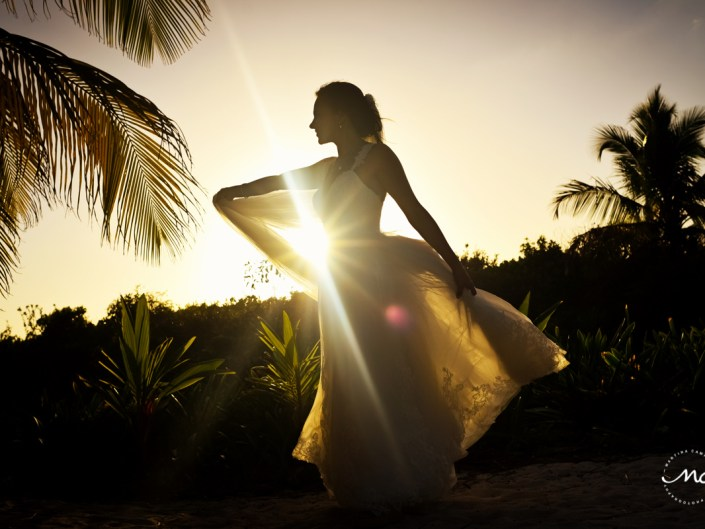 Bride sunset portraits at Blue Venado Beach Wedding in Mexico. Martina Campolo Photography