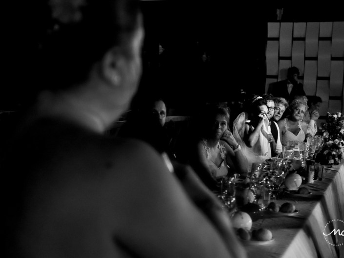 Black and white wedding reception moment at Now Sapphire, Mexico. Martina Campolo Photography
