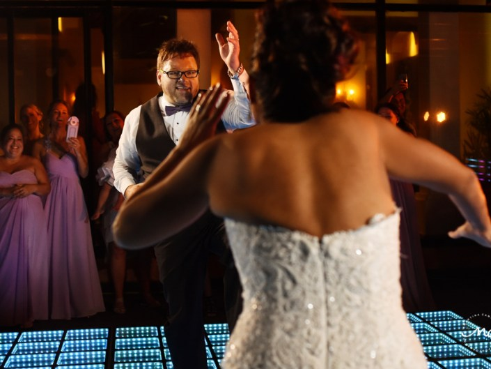 Bride and groom dance. Now Sapphire Riviera Cancun wedding by Martina Campolo Photography