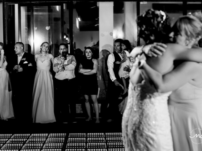 Black and white wedding reception photo at Now Sapphire, Mexico. Martina Campolo Photography