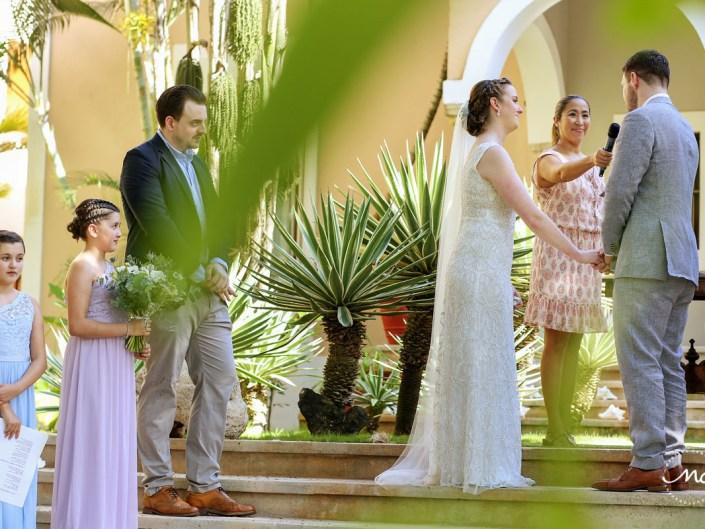 Wedding vows moment at Hacienda del Mar, Riviera Maya, Mexico. Martina Campolo Photography