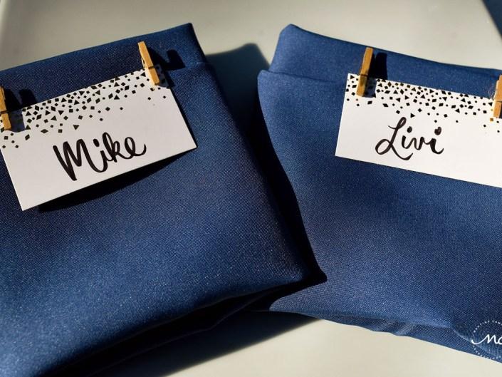 Navy blue napkin detail with name cards at Hacienda del Mar wedding in Riviera Maya, Mexico. Martina Campolo Photography