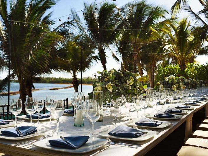 Nautical wedding table design with floral centerpieces at Hacienda del Mar, Riviera Maya, Mexico. Martina Campolo Photography