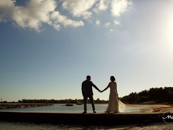 Destination bride and groom portraits on pier. Hacienda del Mar wedding in Mexico by Martina Campolo Photography