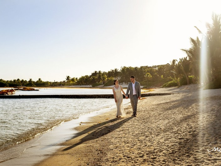 Beach bride and groom portraits at Hacienda del Mar, Riviera Maya, Mexico. Martina Campolo Wedding Photography