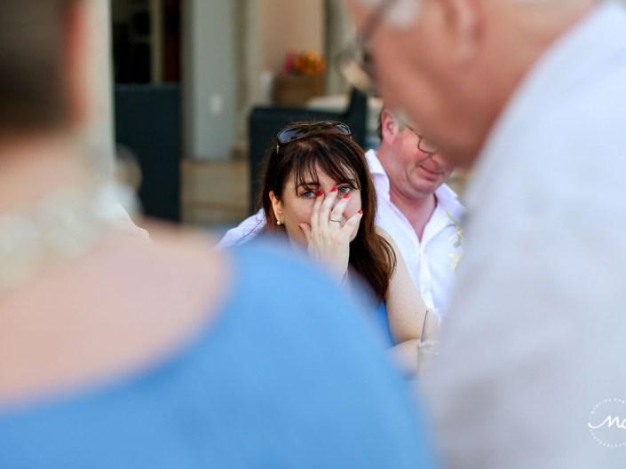Emotional wedding guest at reception. Hacienda del Mar, Puerto Aventuras, Mexico, Martina Campolo Photography