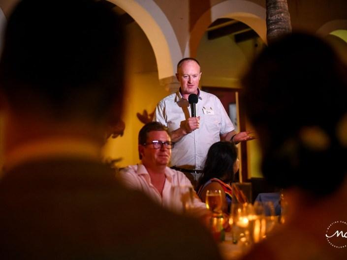 Wedding speeches moment. Hacienda del Mar, Riviera Maya, Mexico. Martina Campolo Photography